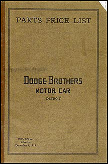 1914-1916 Dodge Brothers Parts Book Original