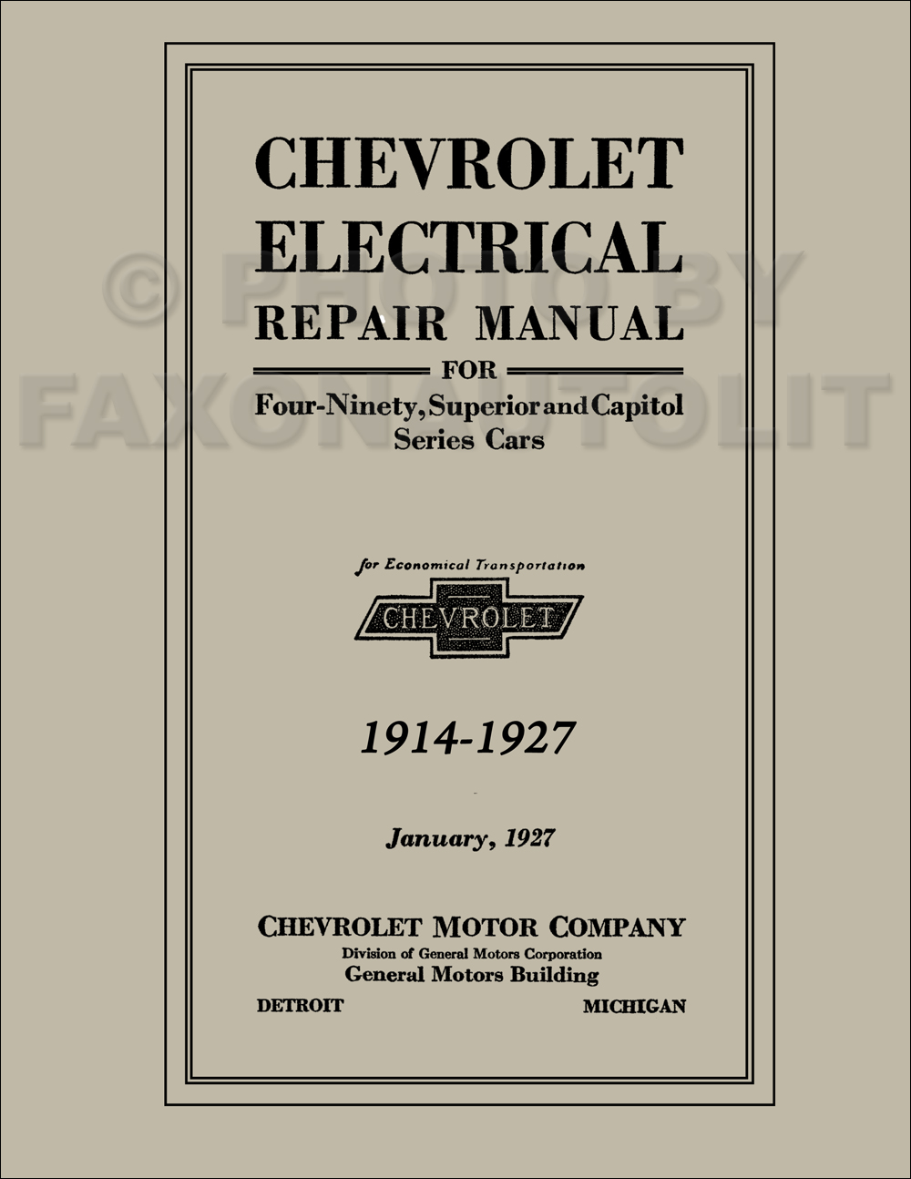 1914-1927 Chevrolet Electrical Repair Manual Reprint