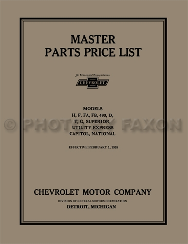1914-1928 Chevrolet Master Parts Book Reprint