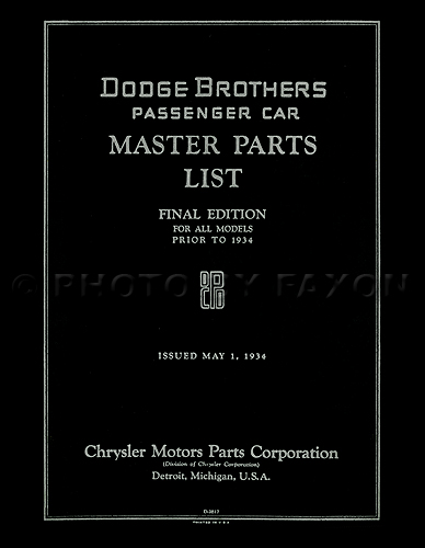1914-1933 Dodge Car Parts Book Reprint