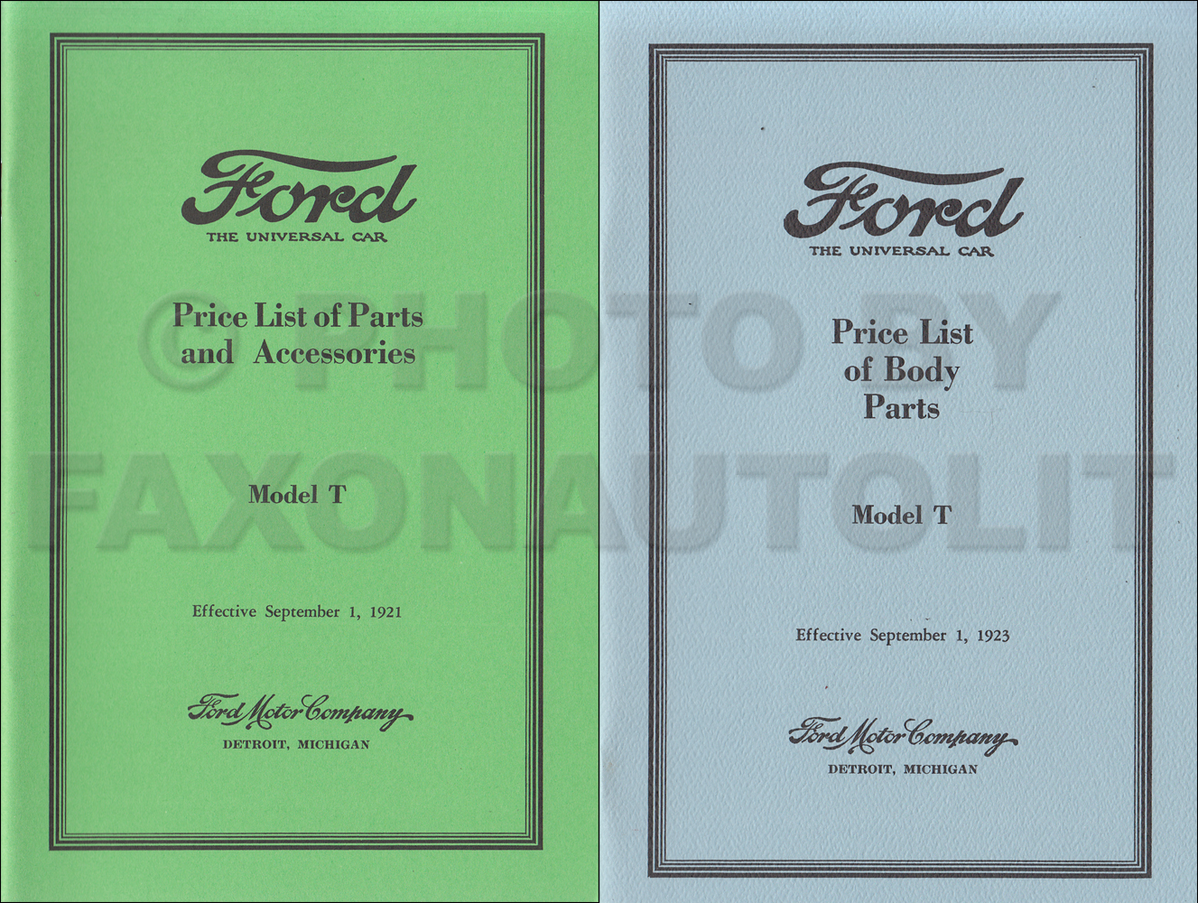 1915-1921 Ford Model T Reprint Body & Mechanical Parts Book Set
