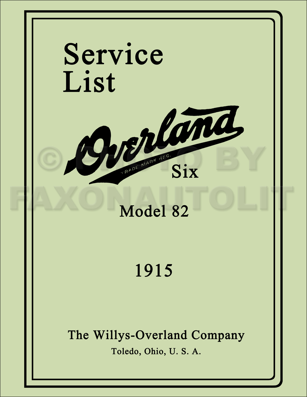 1915 Willys Overland Six Model 82 Parts Book Reprint