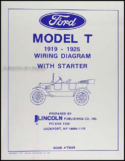 1919-1925 Ford Model T Wiring Diagram Manual Reprint
