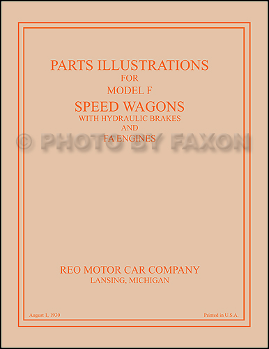 1920-1927 Reo Speed Wagon Parts Illustration Catalog Reprint