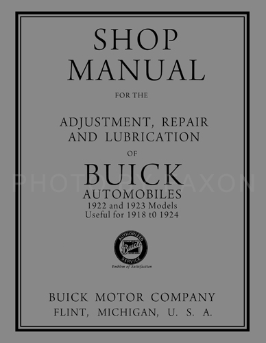 1918-1924 Buick Shop Manual Reprint -- All models