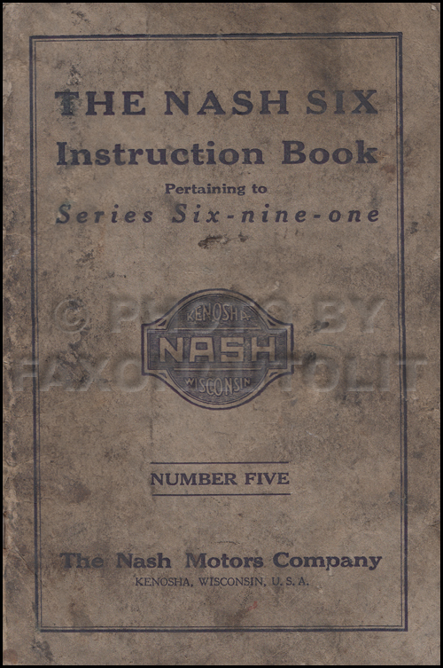 1922-1924 Nash 691 Owner's Manual Original