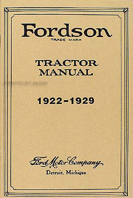 1922-1929 Fordson Tractor Owner's Manual Reprint