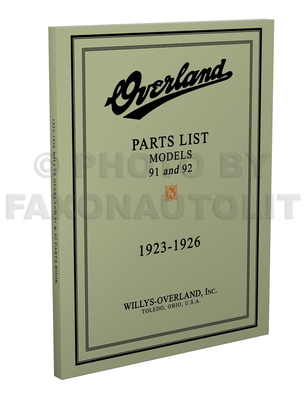 1923-1926 Willys-Overland Model 91 and 92 Parts Book Reprint