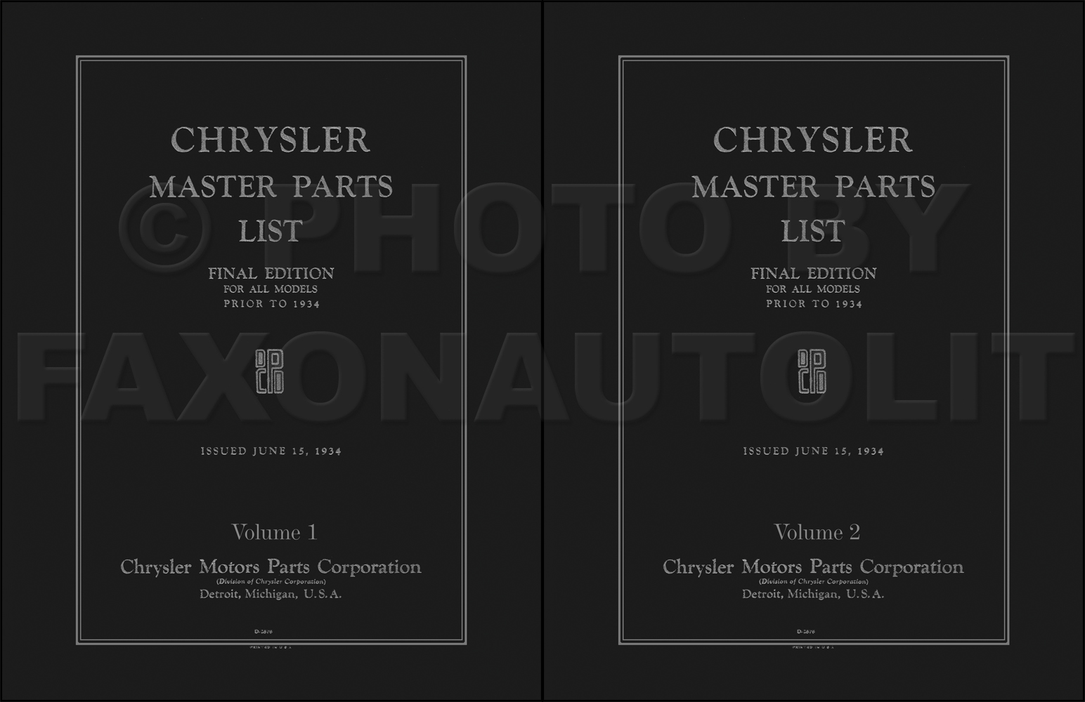 1924-1933 Chrysler Master Parts Book Reprint