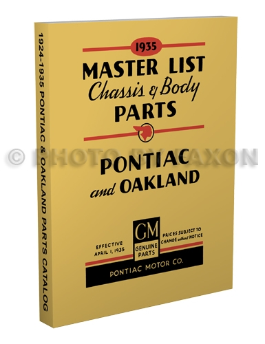 1924-1935 Pontiac and Oakland Master Parts Book Reprint