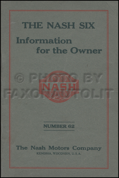 1924 Nash Six Cylinder Car Owner's Manual Original
