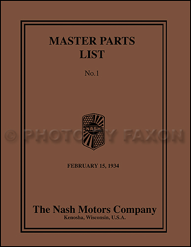 1925-1933 Nash Parts Book Reprint -all EXCEPT Advanced Special Six