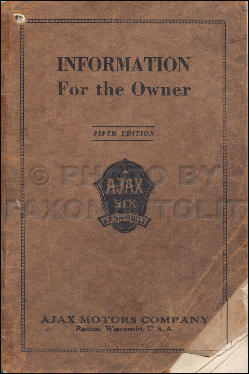 1925-1926 Nash Ajax Six Owner's Manual Original