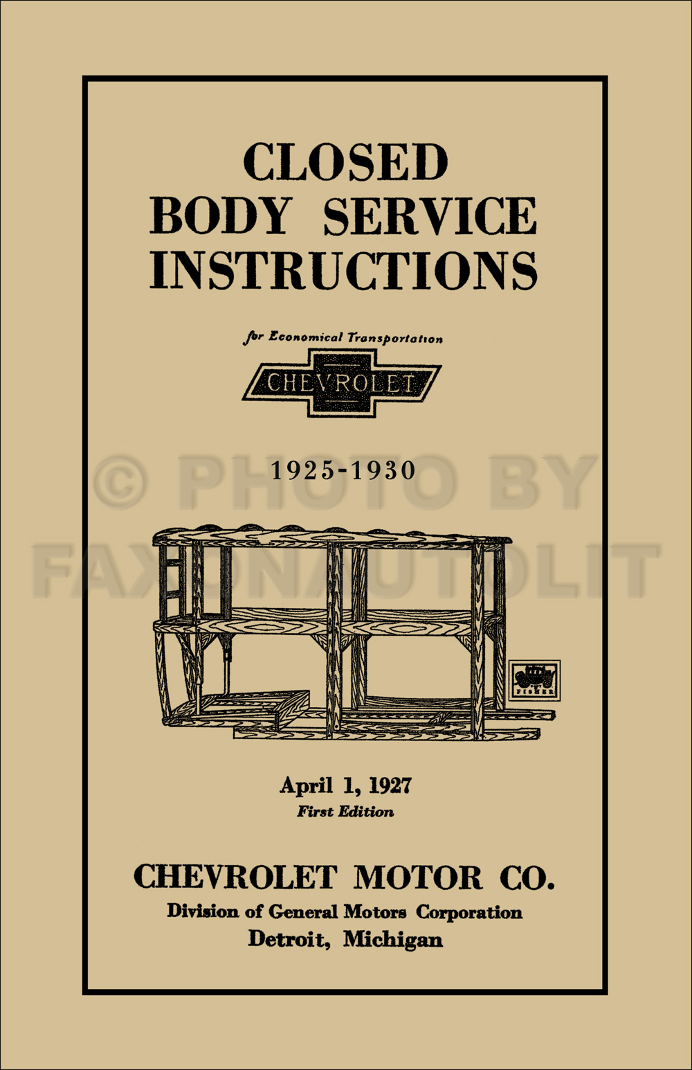 1925-1930 Chevrolet Car Body Reprint Repair Manual