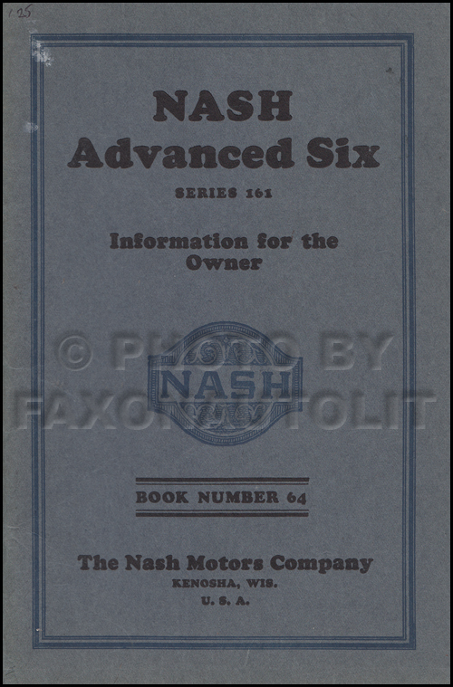 1925 Nash Advanced Six 161 Owner's Manual Original
