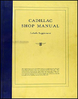 1926-1927 Cadillac and LaSalle Shop Manual Original