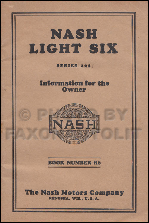 1926-1927 Nash Light Six Owner's Manual Original
