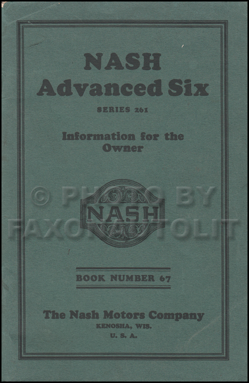 1926-1927 Nash Advanced Six Owner's Manual Original