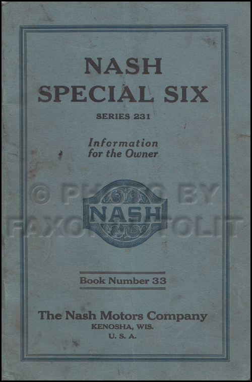 1926 Nash Special Six Owner's Manual Original