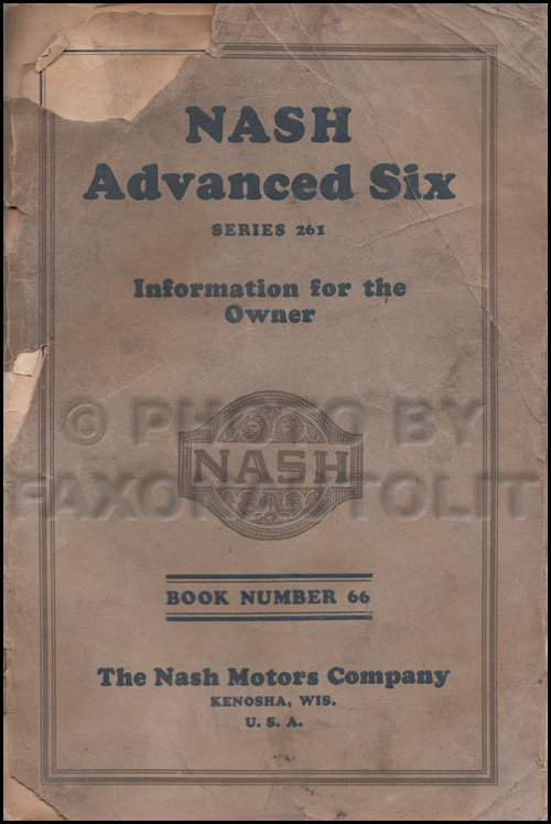1926 Nash Advanced Six Owner's Manual Original