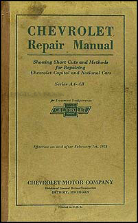 1927-1928 Chevrolet Car & Truck Shop Manual Original