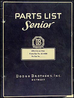 1927-1928 Dodge Senior Six Parts Book Original