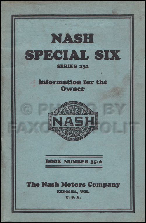 1927 Nash Special Six Owner's Manual Original