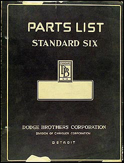 1928-1929 Dodge Standard 6 Graham SE Panel Express Parts Book Original