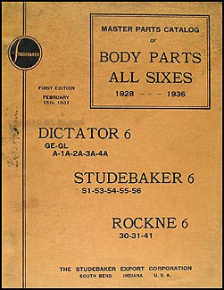 1928-1936 Studebaker Six Original Body Part Book