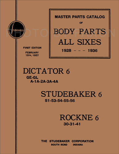 1928-1936 Studebaker Body Part Book Reprint