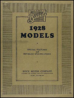 1928 Buick Special Features & Specifications Manual Original