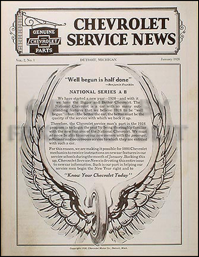 1928 Chevrolet Reprint Service News 28 Car and Pickup Truck