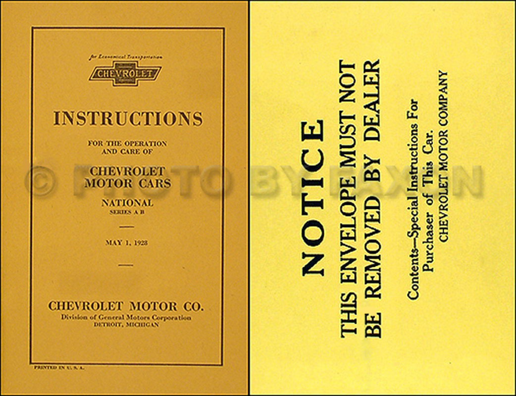 1928 Chevrolet Car Reprint Owner's Manual Package