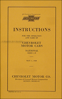 1928 Chevrolet Car Owner's Manual Reprint