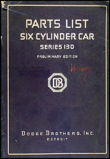 1928 Dodge Victory Six 130 Preliminary Parts Book Original