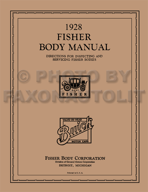 1928 Buick ONLY Coupe and Sedan Fisher Body Manual Reprint