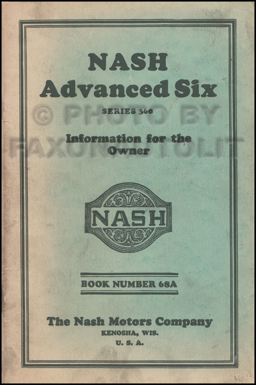 1928 Nash Advanced Six Owner's Manual Original