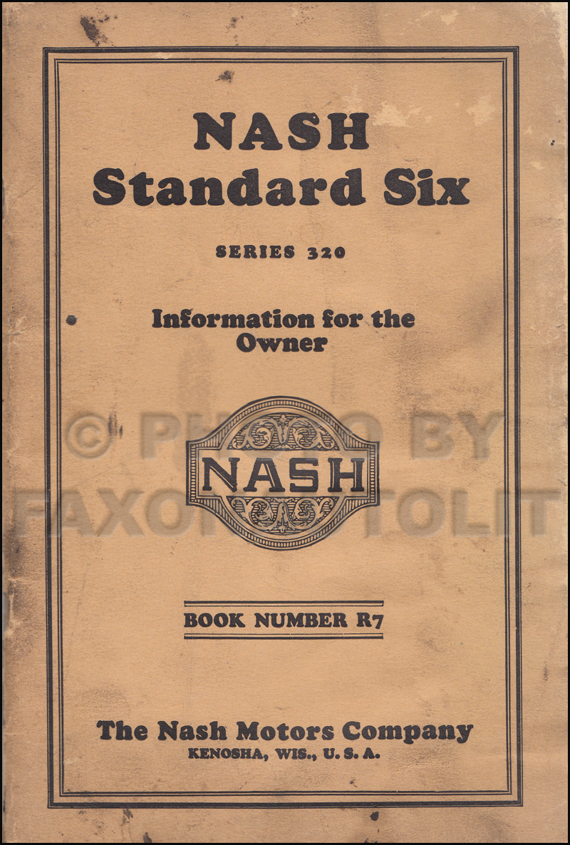 1928 Nash Standard Six Owner's Manual Original