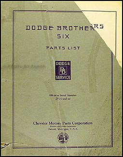1929-1930 Dodge DA Six Parts Book Original