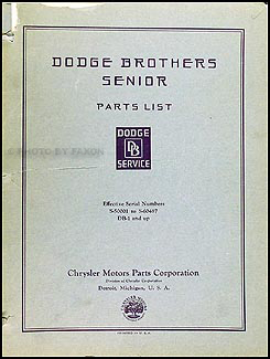 1928.5-1930 Dodge Senior Parts Book Original