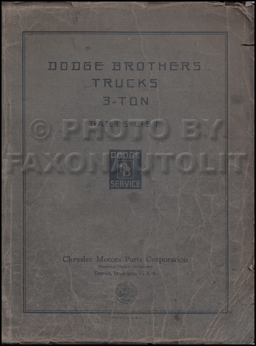 1929-1931 Dodge Brothers 3 Ton Truck Parts Book Original