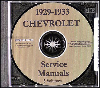 1929-1933 Chevrolet Repair Manual Set CD-ROM