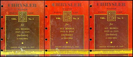 1929-1939 Chrysler Master Parts Book Original 3 Vol. Set