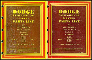 1929-1939 Dodge Car Master Parts Book Original 2 Volume Set
