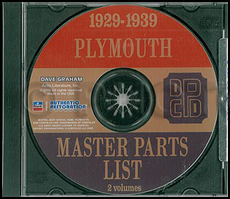 CD-ROM 1929-1939 Plymouth Parts Book