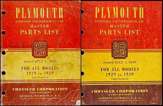 1929-1939 Plymouth Parts Book Original 2 Vol. Set