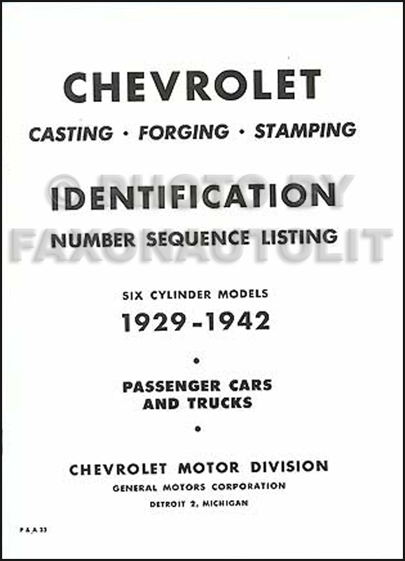 I.D. 1929-1942 Chevy Parts book of Casting, Forge & Stamp numbers