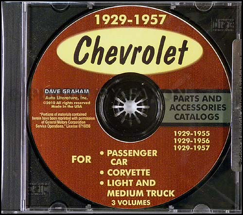 CD 1949-1957 Chevrolet Parts Catalogs For Car, Corvette, and Truck