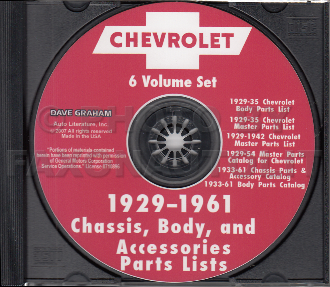 1946-1961 Chevrolet Illustrated Parts Book CD Car, Corvette and Truck