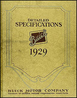 1929 Buick Detailed Specifications Manual Original